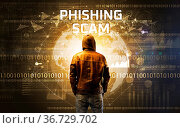 Faceless hacker at work with PHISHING SCAM inscription, Computer security... Стоковое фото, фотограф Zoonar.com/ranczandras / easy Fotostock / Фотобанк Лори