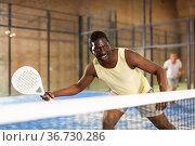 Sporty afro american man playing padel tennis indoor. Стоковое фото, фотограф Яков Филимонов / Фотобанк Лори