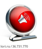 Glossy red button with speaker symbol. 3D illustration. Стоковое фото, фотограф Zoonar.com/Cigdem Simsek / easy Fotostock / Фотобанк Лори