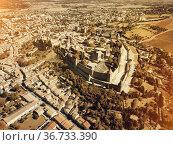 Aerial view of Carcassonne with fortress. Стоковое фото, фотограф Яков Филимонов / Фотобанк Лори