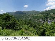 Panorama of mountains in the canyon of the Tara River, Montenegro. Стоковое фото, фотограф Володина Ольга / Фотобанк Лори