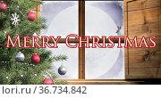 Image of merry christmas text over santa in sleigh. Стоковое фото, агентство Wavebreak Media / Фотобанк Лори