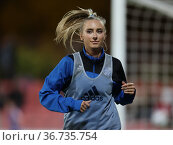 Leverkusen, Germany, 08/10/2021, Flyeralarm Women's Bundesliga, Matchday... Редакционное фото, фотограф Juergen Schwarz / age Fotostock / Фотобанк Лори