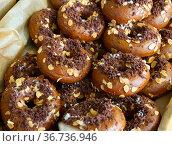 Glazed chocolate donuts. Стоковое фото, фотограф Яков Филимонов / Фотобанк Лори