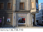 """""""Berlin, Germany, vacant building with a closed former butcher shop in the district Mitte"""" (2014 год). Редакционное фото, агентство Caro Photoagency / Фотобанк Лори"""