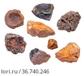 Set of various Bog Iron Ores isolated on white background. Стоковое фото, фотограф Zoonar.com/Valery Voennyy / easy Fotostock / Фотобанк Лори