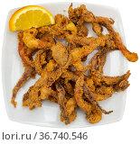 Popular Spanish tapa rejos - fried spicy tentacles of squid served with lemon slice. Стоковое фото, фотограф Яков Филимонов / Фотобанк Лори