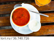 Russian meat soup Solyanka with assorted meat. Стоковое фото, фотограф Яков Филимонов / Фотобанк Лори