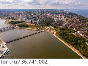 Aerial view of Cheboksary on Volga River in summer, Chuvashia, Russia. Стоковое фото, фотограф Яков Филимонов / Фотобанк Лори