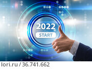 Button with the start of the year 2022. Стоковое фото, фотограф Elnur / Фотобанк Лори