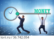 Time is money concept with businessman and key. Стоковое фото, фотограф Elnur / Фотобанк Лори