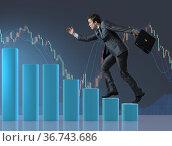 Businessman climbing career ladder as trader broker. Стоковое фото, фотограф Elnur / Фотобанк Лори