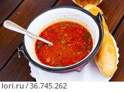 Bean soup with chili in Mexican style. Стоковое фото, фотограф Яков Филимонов / Фотобанк Лори