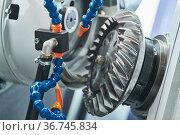 Spiral gear milling machine work. CNC grinding machine in metalwork industry. Стоковое фото, фотограф Дмитрий Калиновский / Фотобанк Лори