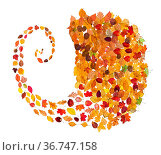 Collage from many natural autumn leaves - spiral stream from fallen... Стоковое фото, фотограф Zoonar.com/Valery Voennyy / easy Fotostock / Фотобанк Лори