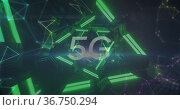 5G text and network of connections against glowing tunnel. Стоковое фото, агентство Wavebreak Media / Фотобанк Лори