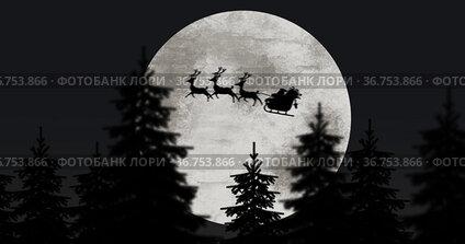 Silhouette of Santa Claus in sleigh being pulled by reindeers against moon