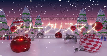 Image of Japanese Christmas message written in shiny letter on snowy landscape