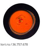 Popular Spanish light cold Gazpacho soup. Стоковое фото, фотограф Яков Филимонов / Фотобанк Лори