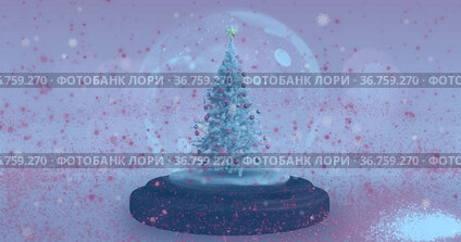 Image of snow globe with christmas tree and shooting star with snow falling