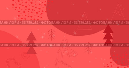 Image of snow falling over trees and christmas pattern on red background