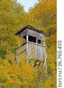 Kraichgau, Jägerhochsitz im Herbst am Waldrand, großer Acker, Стоковое фото, фотограф Zoonar.com/Bildagentur Geduldig / easy Fotostock / Фотобанк Лори