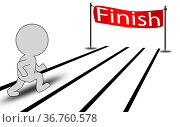 Person run toward the finishing line, 3D rendering. Стоковое фото, фотограф Zoonar.com/Yann Tang / easy Fotostock / Фотобанк Лори