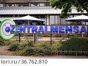 Mainz, Deutschland - Oktober 24, 2017: Das Schild der Zentralmensa... Стоковое фото, фотограф Zoonar.com/Bastian Kienitz / age Fotostock / Фотобанк Лори