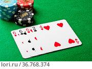 Three of a kind im poker Spiel. Стоковое фото, фотограф Zoonar.com/Ulrich Schade / easy Fotostock / Фотобанк Лори