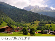 Schweiz, Bahnstrecke Reichenau-Tamins, Disentis/Mustér, Berglandschaft... Стоковое фото, фотограф Zoonar.com/Bildagentur Geduldig / easy Fotostock / Фотобанк Лори