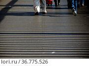 Ein Brückengeländer wirft gestreifte symmetrische Schatten auf einen... Стоковое фото, фотограф Zoonar.com/Bastian Kienitz / easy Fotostock / Фотобанк Лори