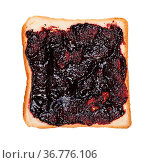 Top view of open sandwich with toast and and blueberry jam isolated... Стоковое фото, фотограф Zoonar.com/Valery Voennyy / easy Fotostock / Фотобанк Лори