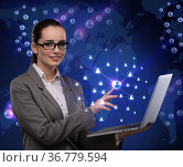 Businesswoman with laptop in social network concept. Стоковое фото, фотограф Elnur / Фотобанк Лори