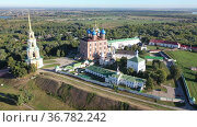 Aerial view of the territory of the ancient Kremlin in the city of Ryazan with the Assumption Cathedral, Russia. Стоковое видео, видеограф Яков Филимонов / Фотобанк Лори