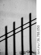 Die dunklen surrealen Schatten eines Eisenzaunes an einer Putzfassade. Стоковое фото, фотограф Zoonar.com/Bastian Kienitz / easy Fotostock / Фотобанк Лори