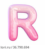 Pink latex glossy font Letter R 3D rendering illustration isolated... Стоковое фото, фотограф Zoonar.com/Milic Djurovic / easy Fotostock / Фотобанк Лори