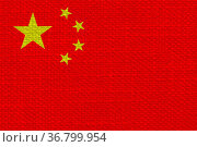 The Chinese national flag of China, Asia - fabric texture. Стоковое фото, фотограф Zoonar.com/Claudio Divizia / easy Fotostock / Фотобанк Лори