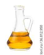 Side view of glass jug with olive oil isolated on white background. Стоковое фото, фотограф Zoonar.com/Valery Voennyy / easy Fotostock / Фотобанк Лори