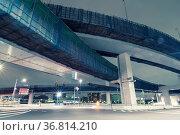 Huge hanged highways structure in Tokyo by night. Стоковое фото, фотограф Zoonar.com/Yury Zap / easy Fotostock / Фотобанк Лори