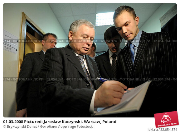 01.03.2008 Pictured: Jaroslaw Kaczynski. Warsaw, Poland. Редакционное фото, фотограф Brykczynski Donat / age Fotostock / Фотобанк Лори
