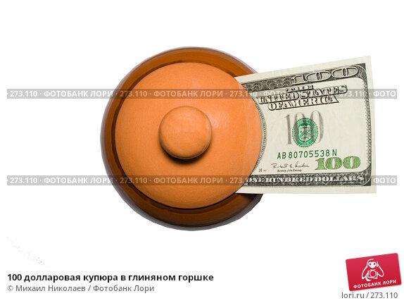 100 долларовая купюра в глиняном горшке, фото № 273110, снято 18 апреля 2008 г. (c) Михаил Николаев / Фотобанк Лори