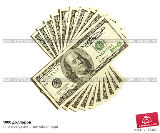 1000 долларов, фото № 116882, снято 8 февраля 2006 г. (c) Losevsky Pavel / Фотобанк Лори