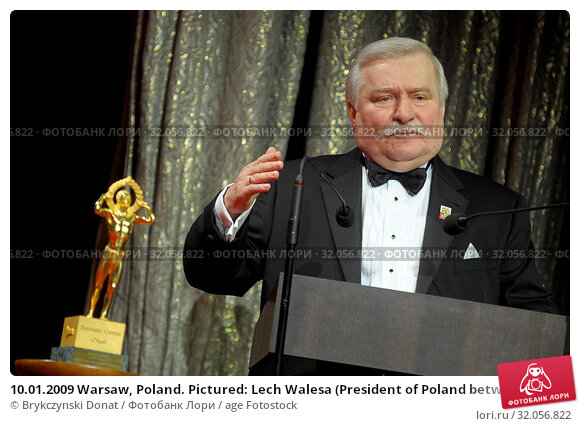10.01.2009 Warsaw, Poland. Pictured: Lech Walesa (President of Poland between 1990 and 1995, Nobel Prize in 1983) Редакционное фото, фотограф Brykczynski Donat / age Fotostock / Фотобанк Лори