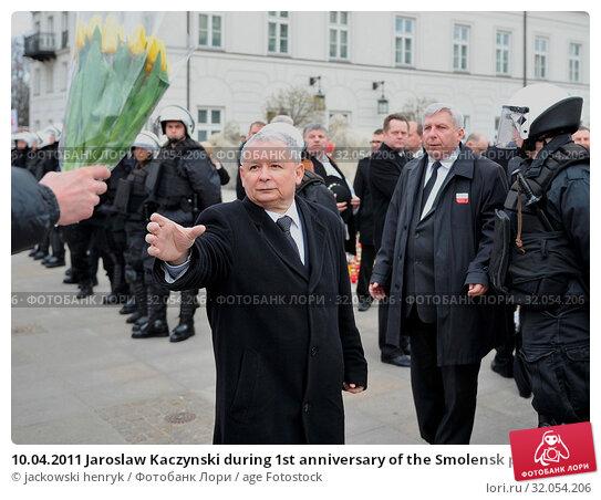 10.04.2011 Jaroslaw Kaczynski during 1st anniversary of the Smolensk plane crash. Редакционное фото, фотограф jackowski henryk / age Fotostock / Фотобанк Лори