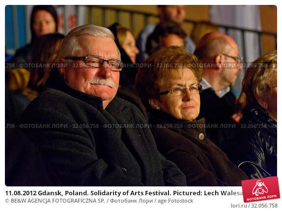 11.08.2012 Gdansk, Poland. Solidarity of Arts Festival. Pictured: Lech Walesa with his wife Danuta. Редакционное фото, фотограф BE&W AGENCJA FOTOGRAFICZNA SP. / age Fotostock / Фотобанк Лори