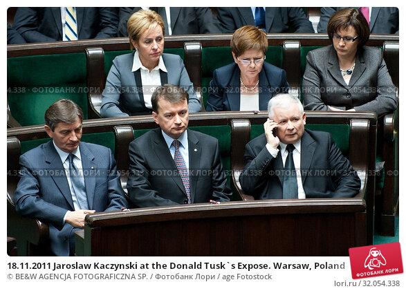 18.11.2011 Jaroslaw Kaczynski at the Donald Tusk`s Expose. Warsaw, Poland. Редакционное фото, фотограф BE&W AGENCJA FOTOGRAFICZNA SP. / age Fotostock / Фотобанк Лори