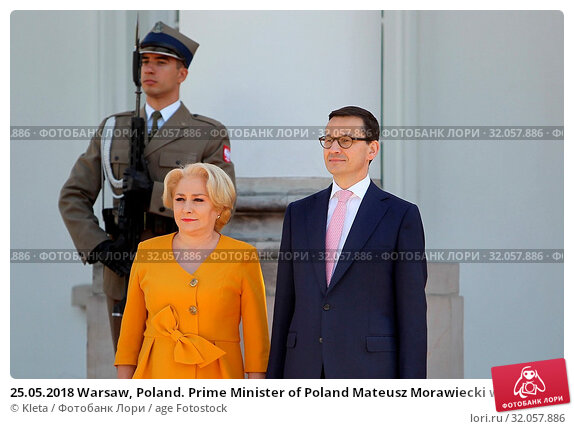 25.05.2018 Warsaw, Poland. Prime Minister of Poland Mateusz Morawiecki welcoming Prime Minister of Romania Viorica Dancila. Редакционное фото, фотограф Kleta / age Fotostock / Фотобанк Лори