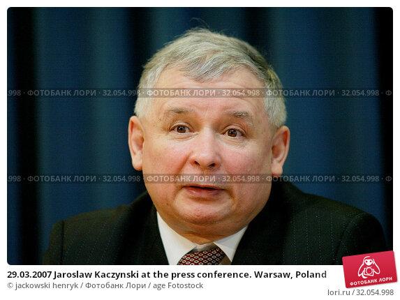 29.03.2007 Jaroslaw Kaczynski at the press conference. Warsaw, Poland. Редакционное фото, фотограф jackowski henryk / age Fotostock / Фотобанк Лори