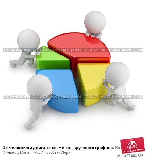 Купить «3d-человечки двигают сегменты кругового графика. Концепция командной статистики», иллюстрация № 7008378 (c) Anatoly Maslennikov / Фотобанк Лори