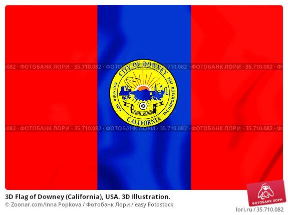 3D Flag of Downey (California), USA. 3D Illustration. Стоковое фото, фотограф Zoonar.com/Inna Popkova / easy Fotostock / Фотобанк Лори